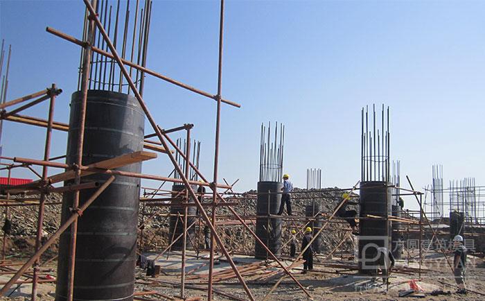木制圆形柱模板现场支模施工