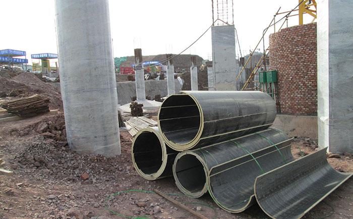 圆柱木模板工地施工