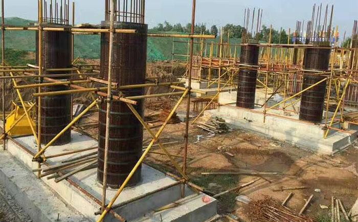 圆柱木模板应用于桥梁墩柱施工