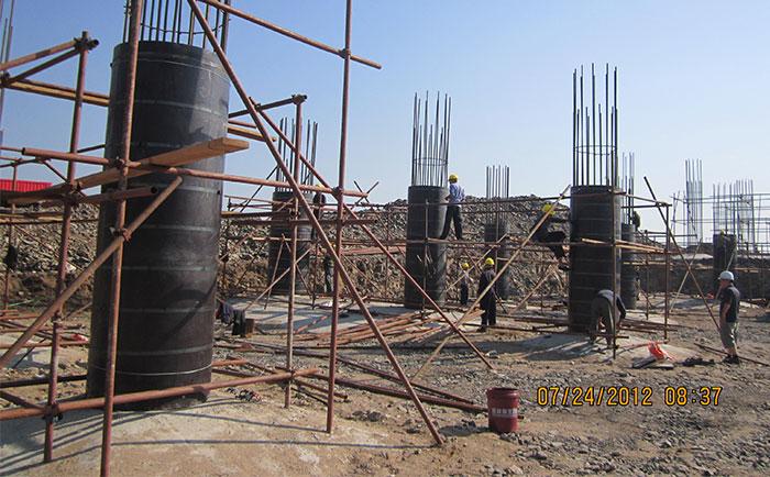 海口地区圆柱木模板施工支模现场