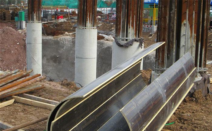 圆形柱子模板脱模后混凝土成型