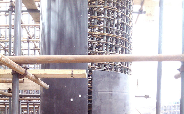 圆柱木模板错位搭接