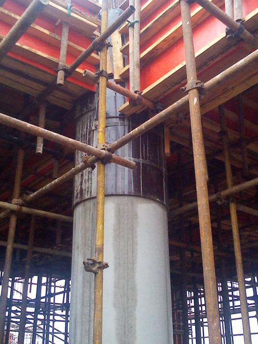 圆柱木模板应用于桥梁墩柱及清水脱模成型