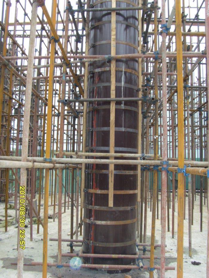 木圆柱子模板支模加固效果