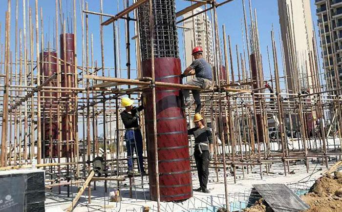 圆柱子木模板垂直施工