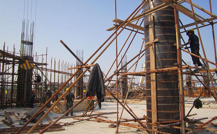 大同地区圆柱木模板工地施工现场