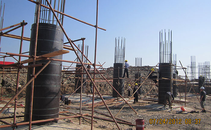 圆柱子模板工地施工